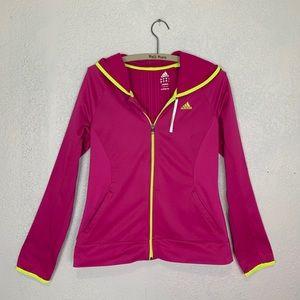 Adidas climawarm zip front hoodie w/ neon trim